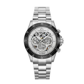 Christophe Duchamp: GRAND MONT Automatic Movement 10 ATM Water Resistant Watch in Black & Silver Ton