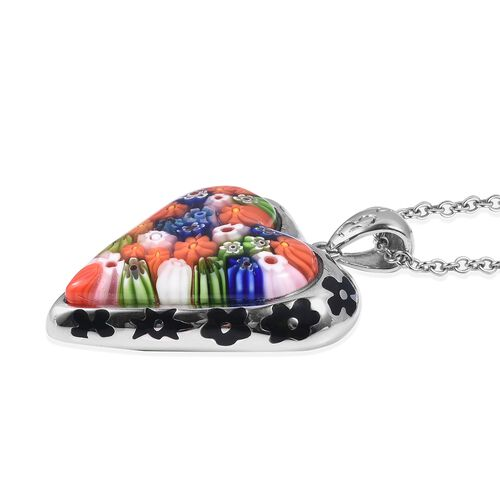 Murano Style Glass Heart Pendant With Chain (Size 20) in Stainless Steel