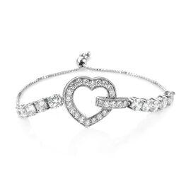 J Francis - Platinum Overlay Sterling Silver (Rnd 6 mm) Heart Bracelet (Size 6.5 - 9.5 Adjustable) Made with SWAROVSKI ZIRCONIA, Silver wt 10.54 Gms.