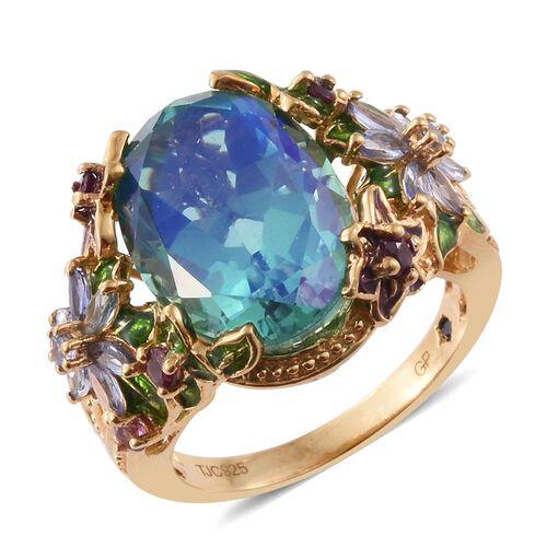 GP Peacock Quartz (Ovl), Rhodolite Garnet, Tanzanite and Kanchanaburi Blue Sapphire Ring in 14K Gold