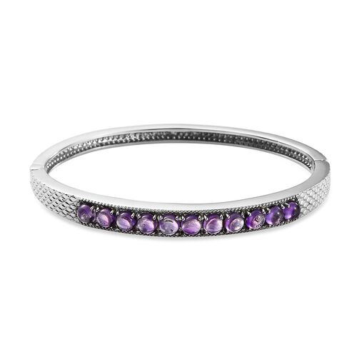 AA Amethyst Bangle (Size 7.5) in Stainless Steel 4.50 Ct.