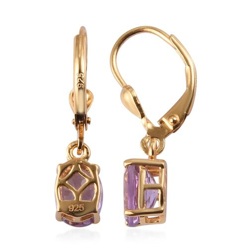 Rose De France Amethyst Lever Back Drop Earrings in 14K Gold Overlay Sterling Silver 2.250  Ct.