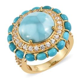 Larimar (Rnd 9.75 Ct), Arizona Sleeping Beauty Turquoise and Natural Cambodian Zircon Ring in 14K Gold Overlay Sterling Silver 14.750 Ct. Silver wt 7.60 Gms.