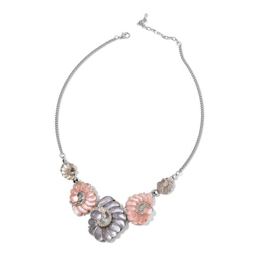 White Austrian Crystal Simulated Shell Necklace (Size 20 with 2 inch Extender) in Silver Tone