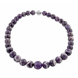 Extremely Rare Bi-Color Amethyst (Rnd 11-19mm) Necklace (Size 20) in Rhodium Overlay Sterling Silver