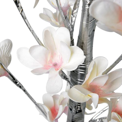 White Colour LED Light Adorned Tree with Flowers and Silver Trunk (Size 120X18.5 Cm)