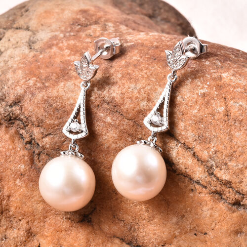 Edison Pearl and Natural Cambodian Zircon Earrings (with Push Back)  in Rhodium Overlay Sterling Silver