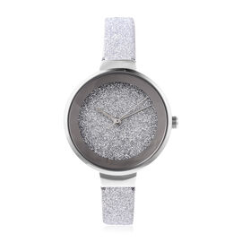 STRADA Japanese Movement Water Resistant Watch in Silver Tone with Stardust Dial and Strap