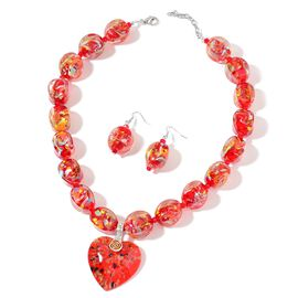 2 Piece Set - Red Colour Murano Style Glass and White Austrian Crystal Necklace (Size 22 with 2.5 in