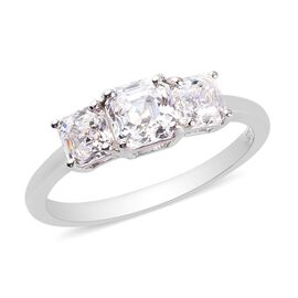 J Francis Platinum Overlay Sterling Silver 3-Stone Ring Made with SWAROVKI ZIRCONIA 2.42 Ct.