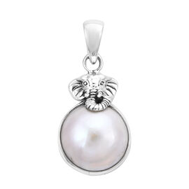 Royal Bali Collection - White Mabe Pearl (Rnd) Elephant Pendant in Sterling Silver