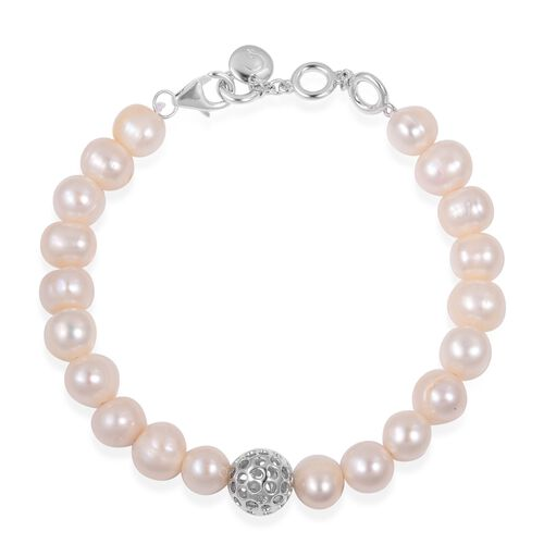 Rachel Galley Fresh Water White Pearl (Rnd 8mm) Bracelet (Size 8) in Rhodium Overlay Sterling Silver