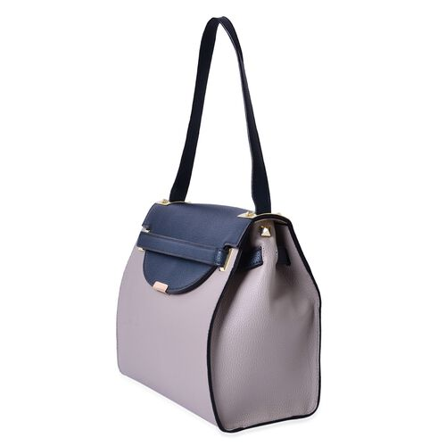 Grey and Navy Colour Crossbody Bag With Shoulder Strap (Size 30x26x13 Cm)