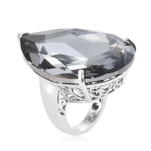 Cocktail Collection- J Francis - Crystal from Swarovski - Swarovski Crystal Silver light (Pear 40x27mm) Ring in Platinum Overlay Sterling Silver