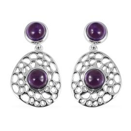 RACHEL GALLEY Amethyst (Rnd) Dangle Lattice Earrings (with Push Back) in Rhodium Overlay Sterling Silver.
