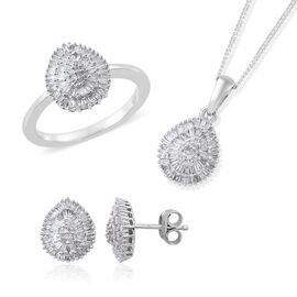 Set of 3 Diamond (Rnd and Bgt) Ring, Pendant with Adjustable Chain (Size 18) and Stud Earrings (with
