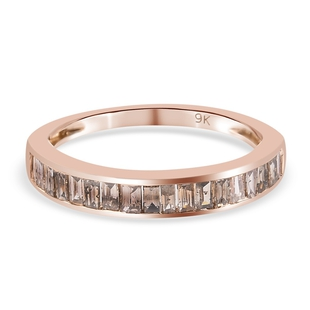 9K Rose Gold SGL Certified Natural Champagne Diamond (I3) Half Eternity Band Ring 0.50 Ct.