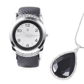 2 Piece Set - STRADA Japanese Movement Water Resistant Bangle Watch (6-7) with Simulated Black Spine
