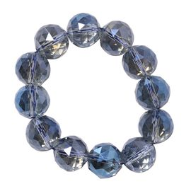 Tanzanite Colour Crystal (Rnd 17-19mm) Faceted Beads Stretchable Bracelet (Size 6.0)