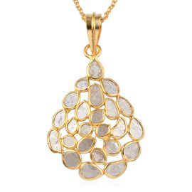 Artisan Crafted Polki Diamond Pendant with Chain (Size 18) in 14K Gold Overlay Sterling Silver 2.50