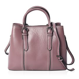 100% Genuine Leather Litchi Pattern Tote Bag with Detachable Shoulder Strap and Zipper Closure (Size