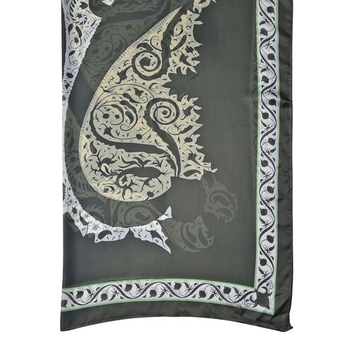 Dark Green, Yellow and White Colour Paisley Floral Pattern Square Shape Scarf (Size 110X110 Cm)