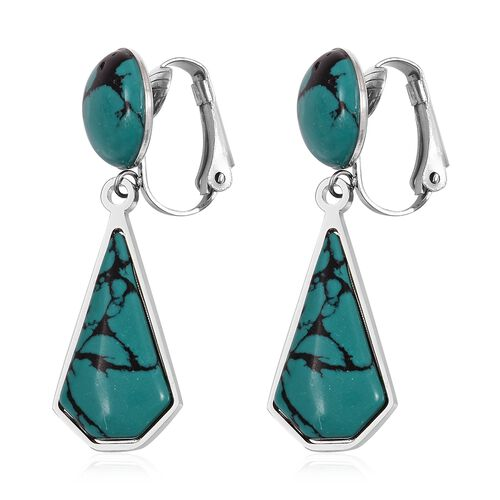 Green Howlite Clip - On Dangle Earrings in Stainless Steel 13.000 Ct.