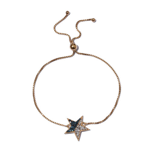 Blue and White Diamond (Rnd) Star Bracelet (Size 6.5 - 9.5 Adjustable) in 14K Gold and Platinum Overlay with Blue Plating Sterling Silver  0.250 Ct.