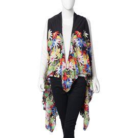 Designer Inspired-Blue, Purple and Multi Colour Floral Kimono (Size 145x130 Cm)