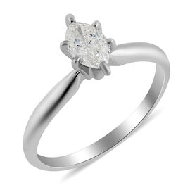 0.50 Ct Diamond Solitaire Ring in 14K White Gold 2 Grams IGL Certified I1 I2 GH