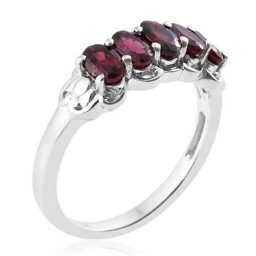 Arizona Anthill Garnet (Ovl) 5 Stone Ring in Platinum Overlay Sterling Silver 1.250 Ct.