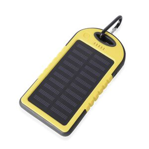 DOD- 4000mAh Power Bank (Size 15x7.5 Cm) with Solar Panel, 2 USB Ports, LED Flashlight, Buckle and USB Cable (Size 30 Cm) - Yellow and Black Colour (Navigation Fashion & Home Accessories) photo