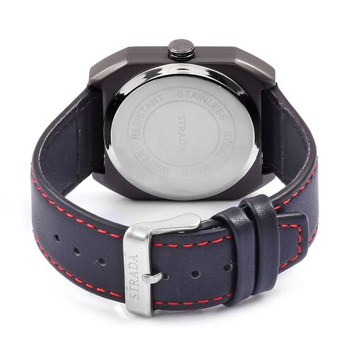 STRADA Japanese Movement White Dial Watch in Black Tone with Black Colour Strap