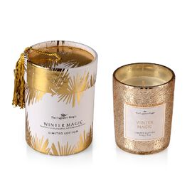 Scented Crackle Glass Candle in CBD Box with Tassel (H- 9.5 Cm, Dia-8 Cm) - Golden (Winter Magic Fra