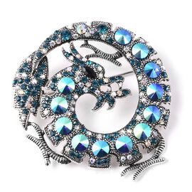 Simulated Black Spinel and Multicolour Austrian Crystal Dragon Brooch in Silver Tone