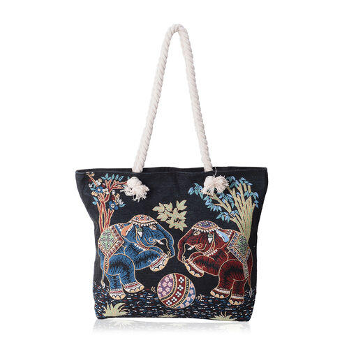 Super Chic  Elephant Pattern Light Weight Large Tote Bag (Size 45x34.5x10x37 Cm)