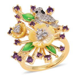 JARDIN COLLECTION - Yellow Mother of Pearl, Amethyst and Natural White Cambodian Zircon Enameled Floral Ring in Rhodium and Gold Overlay Sterling Silver, Silver wt 7.10 Gms