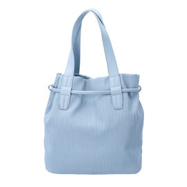 Stripe Pattern Drawstring Handbag with Magnetic Closure (Size 27x15x30 Cm) - Light Blue