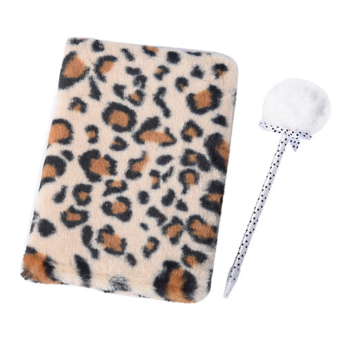 2 Piece Set - Fluffy Leopard Print Cover Notebook with White Pom-Pom Blue Ink Pen