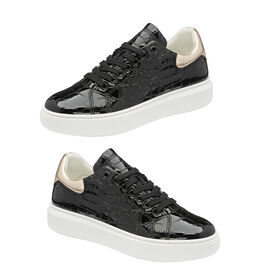 Ravel Tully Leather Trainers in Black and Champagne Colour