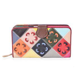 Close Out Deal- Multi Colour Floral Pattern Wallet (Size 18x10x4 Cm)