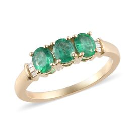 9K Yellow Gold AAAA Premium Emerald and White Diamond Ring 1.30 Ct.