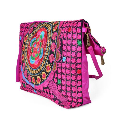 Shanghai Collection Fuchsia Colour Floral Embroidered Clutch or Sling Bag with Removable Shoulder Strap (Size 34X32X7 Cm)