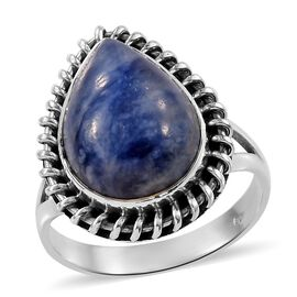 7.84 Ct Sodalite Solitaire Ring in Sterling Silver 4.76 Grams