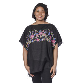 Super Soft Black Kaftan Top with Multi Colour Embroidery (UK Size - up to 20)