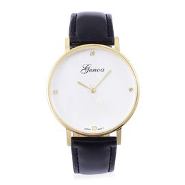 GENOA Diamond Studded Watch with Black Colour Strap