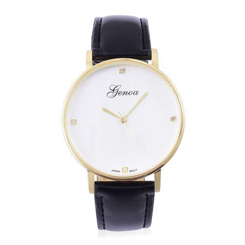 GENOA Diamond Studded Watch with Black Colour Strap