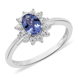 Rare Size Tanzanite (Ovl 7.5 X5.5  mm1.00 Ct), Natural Cambodian Zircon Ring (Size T) in Platinum Overlay Ste