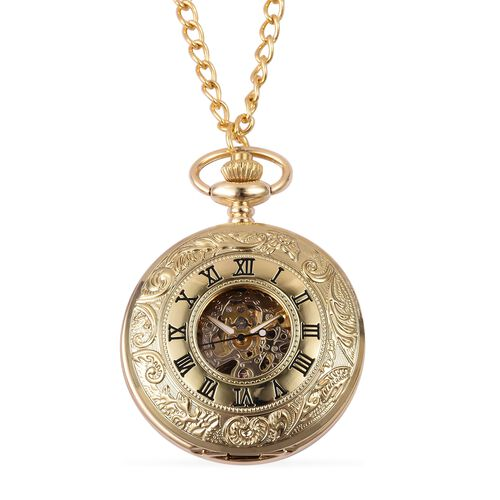 GENOA Automatic Skeleton Golden Dial Water Resistant Ornate Pattern Pocket Watch with Chain in Gold