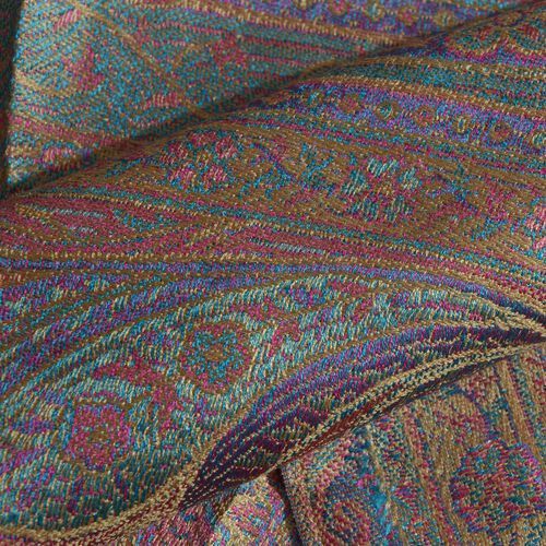 SILK MARK - 100% Superfine Silk Red, Blue and Multi Colour Paisley and Floral Pattern Jacquard Jamawar Scarf with Tassels (Size 160X35 Cm)